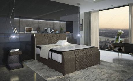 Box Spring Bed Clayton in Hugo 8 - brown