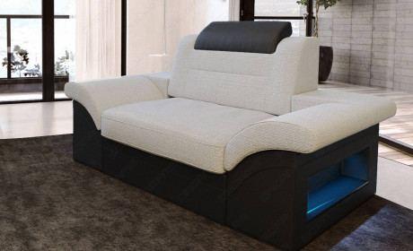 Fabric armchair Atlanta with optional relax function - ivory Hugo 2