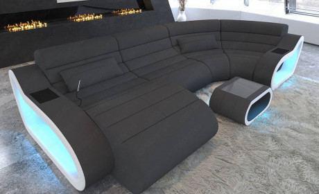 Fabric Sofa Daytona with Recamiere and LED lighting in microfiber fabric Mineva 8 - dark gray