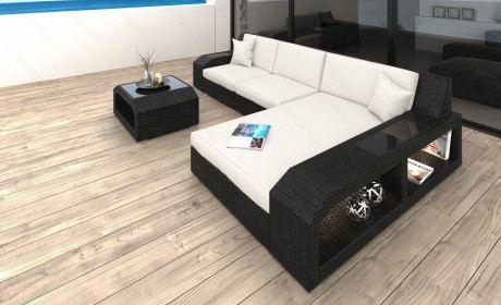 Wicker Patio Sofa Houston L in white