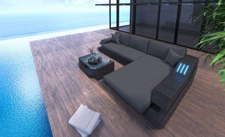 Wicker Patio Sofa Hollywood L Shape in gray