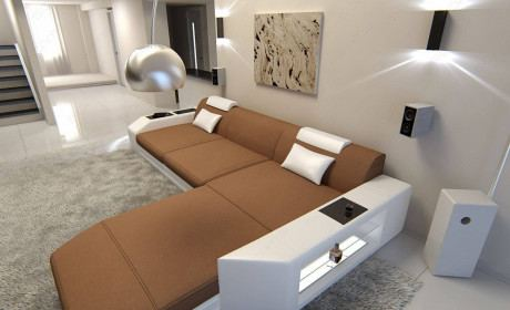 Modern Fabric Sofa Dallas LED L Shaped