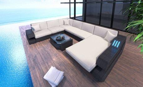 Patio Furniture Sofa Hollywood U Shape in white