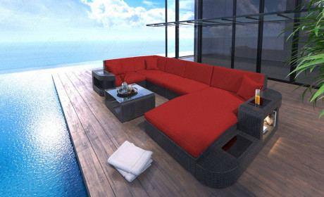 Wicker Patio Sofa Jacksonville U in red