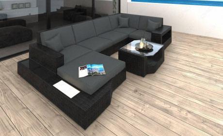 Wicker Lounge Sofa Los Angeles U in gray
