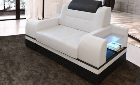 Leather armchair Orlando in white - black