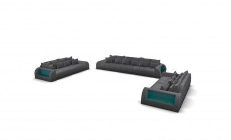 Couch Set Miami 3-2-1 with decorative pillows - grey