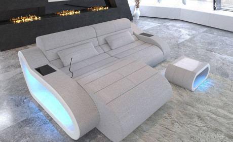 Corner sofa in fabric Daytona with USB in structured fabric Hugo 2 - macchiato