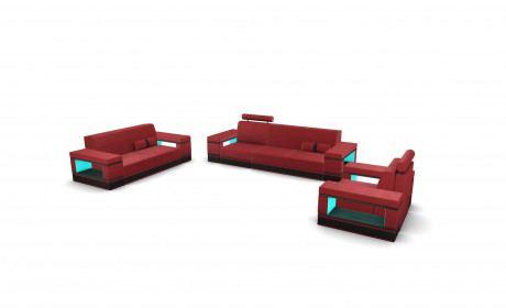 Sofa Set Los Angeles 321 with adjustable Headrest - red
