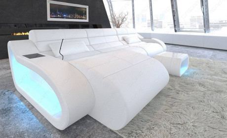 Sofa Couch Daytona exclusive design corner couch with USB port in complete white