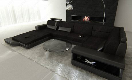 Fabric Leather Mix Sectional Sofa Los Angeles