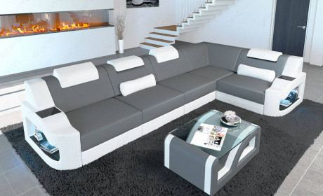 Sofa Couch Manhattan L Form in microfiber Mineva 15 - gray with LED lights