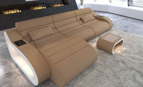 Fabric Sofa Daytona with Recamiere and LED lighting in microfiber fabric Mineva 9 - sandbeige