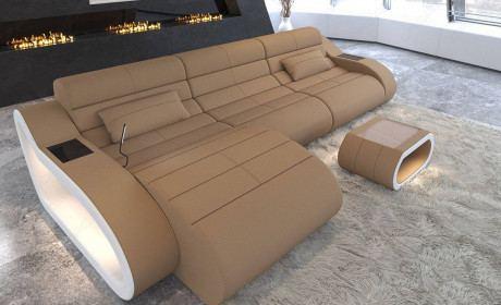 Fabric Sofa Daytona with Recamiere and LED lighting in microfiber fabric Mineva 9 - sandbeige
