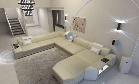 Modern U Shaped Sofa Dallas XL With Lights