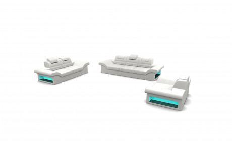 Sofa Set 321 Atlanta with adjustable Headrest - white