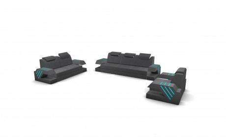 Sofa Set Beverly Hills with adjustable Backrest - grey