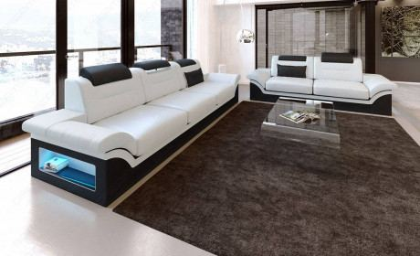 Modern Sectional 3 and 2 Atlanta white-black
