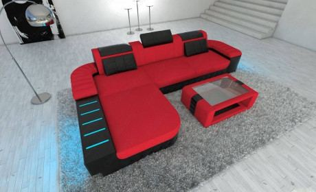 Mega Sectional Fabric Sofa Boston L with LED