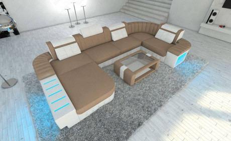 Big Fabric Sectional Sofa Boston U with LED