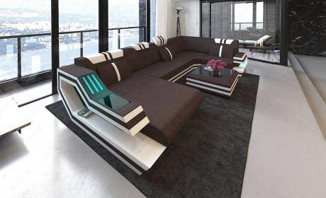 Fabric Design Sofa Hollywood U shape with LED