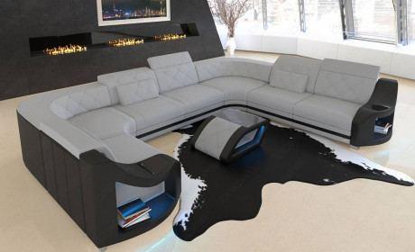 sectional sofa Columbia with headrests in microfibre Mineva 2 - alaska grey