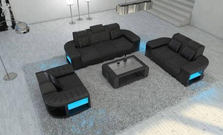 Fabric Sofa 3-2-1 Boston LED in Hugo 12 - black - gray