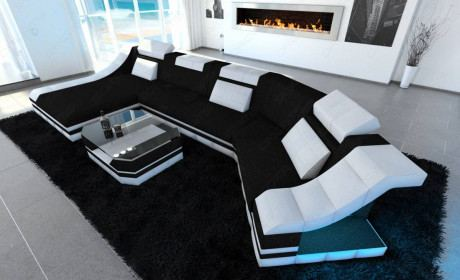 Fabric sectional sofa New York C Form LED