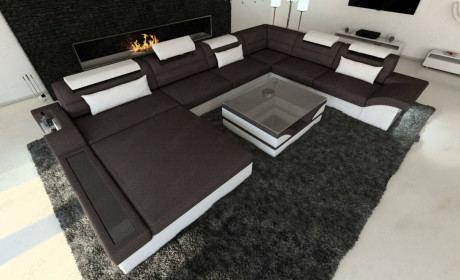 Big Fabric Sectional Sofa Orlando XL LED