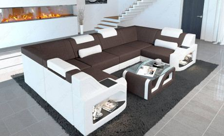 Padded couch Manhattan U shape with LED lighting and shelves in structured fabric Hugo 10 - dark brown