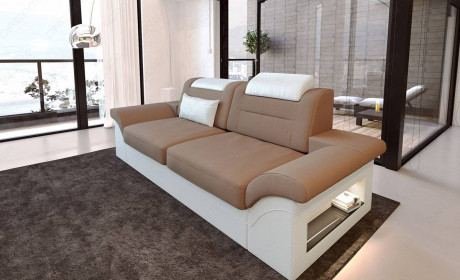 2 seater sofa monza with led lights - light brown - Mineva 21
