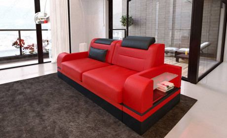 2 seater leather sofa Orlando in red - black