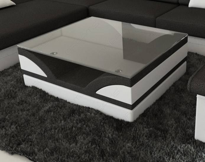 Fabric Coffee Table Chicago with glass plate