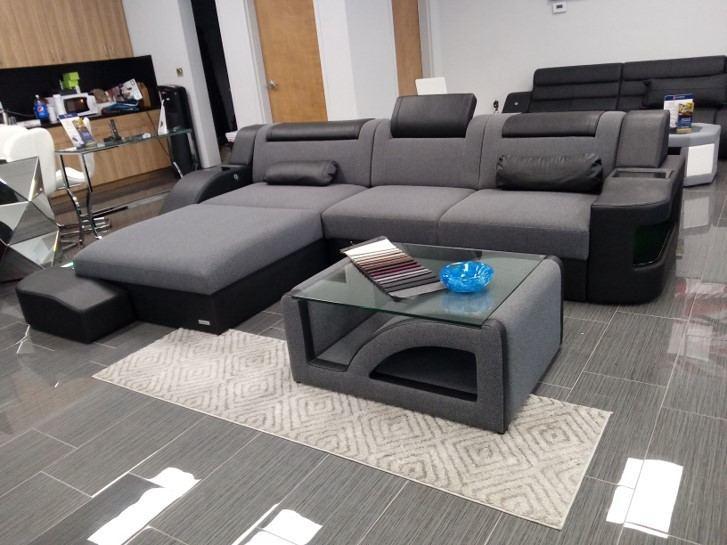 Fabric Sofa Detroit L Shape LED with Coffee Table