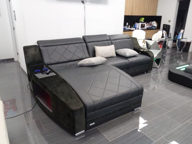 Leather Sofa Palm Beach L Shape with USB and LED Lights