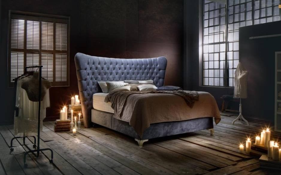 Cosy boxspring Bed in dark grey