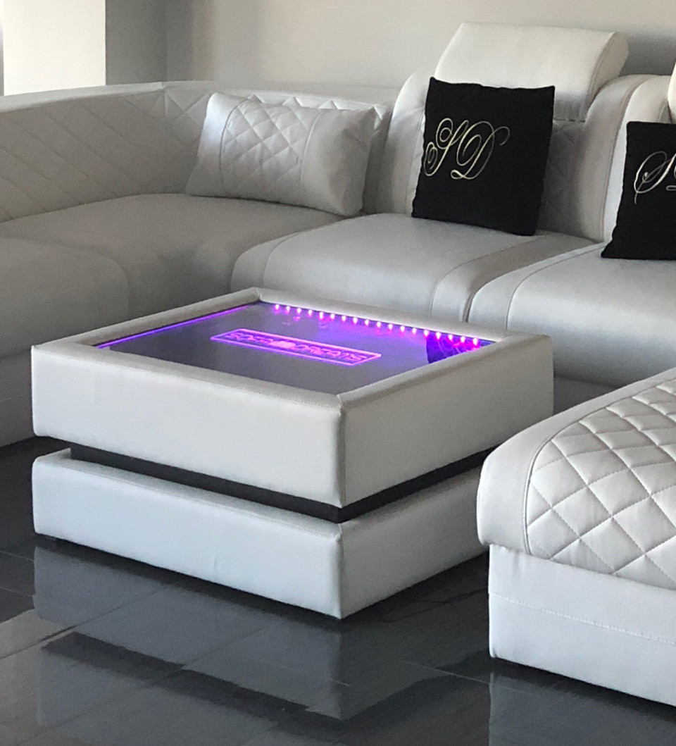 Coffe Table Heat with LED Lighting and individual Engraving