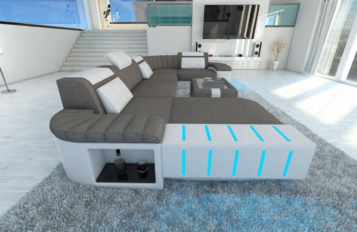 Incredible Big Fabric Sectional Sofa Boston U With Led Beutiful Home Inspiration Aditmahrainfo