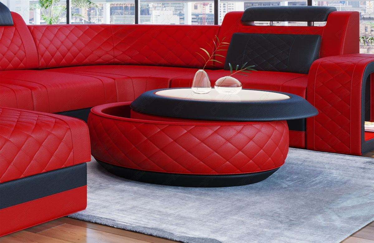 design leder wohnzimmertisch berlin mit stauraum in rot schwarz 1