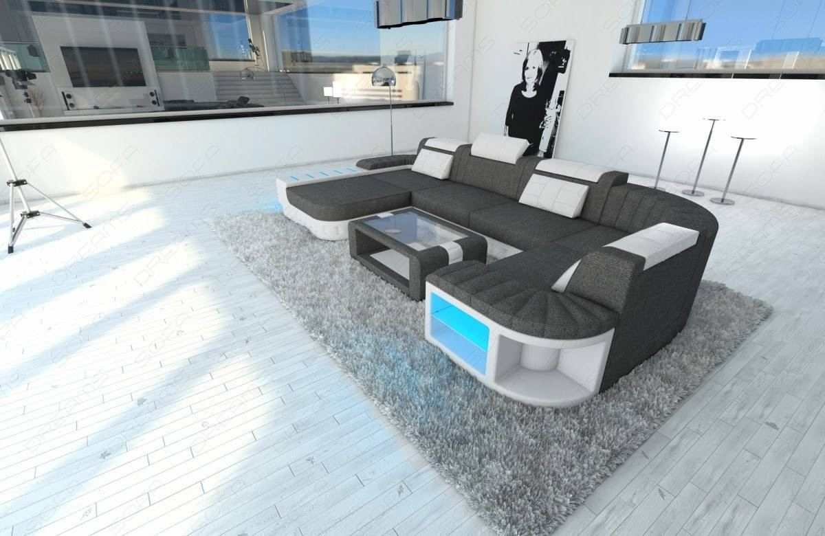 Magnificent Big Fabric Sectional Sofa Boston U With Led Beutiful Home Inspiration Aditmahrainfo