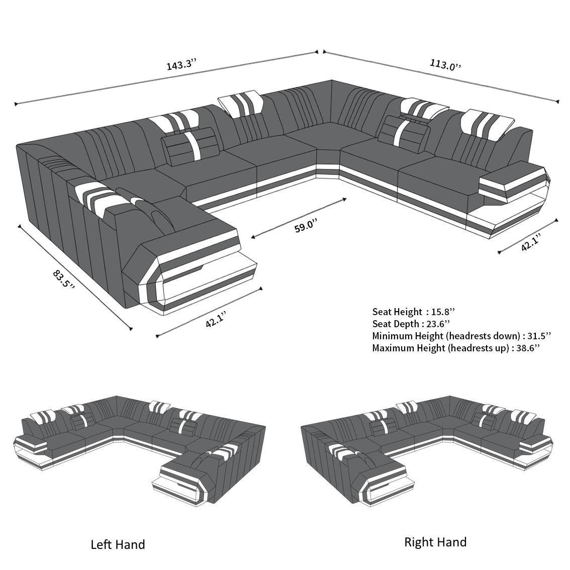 Luxury Sectional Sofa San Antonio U Shape