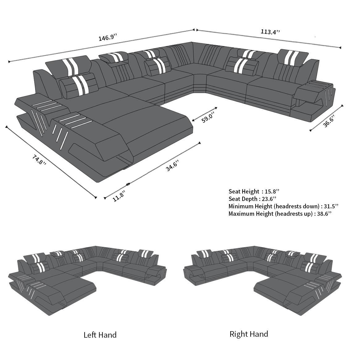 Beverly Hills Xl Upholstery Sectional Sofa Sofadreams