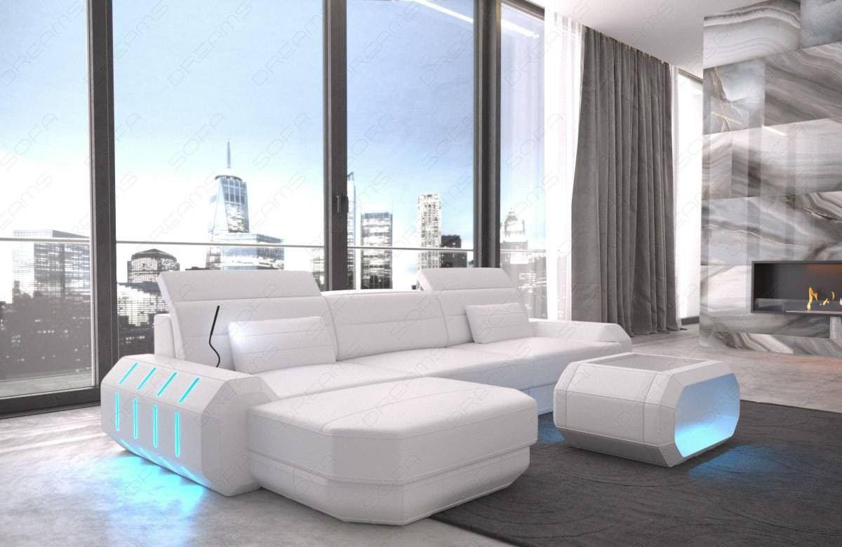 Leather Sofa Brooklyn L Shape with LED