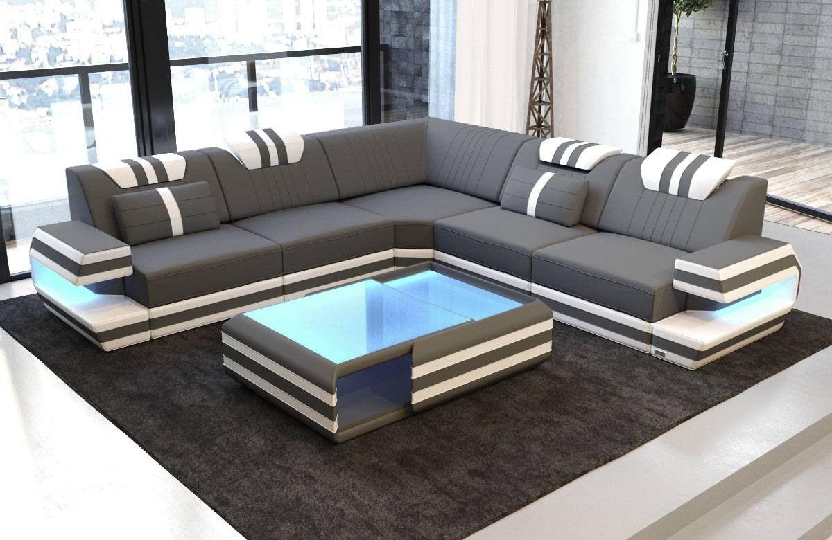 Modern Sectional Fabric Sofa San Antonio L Shape with LED