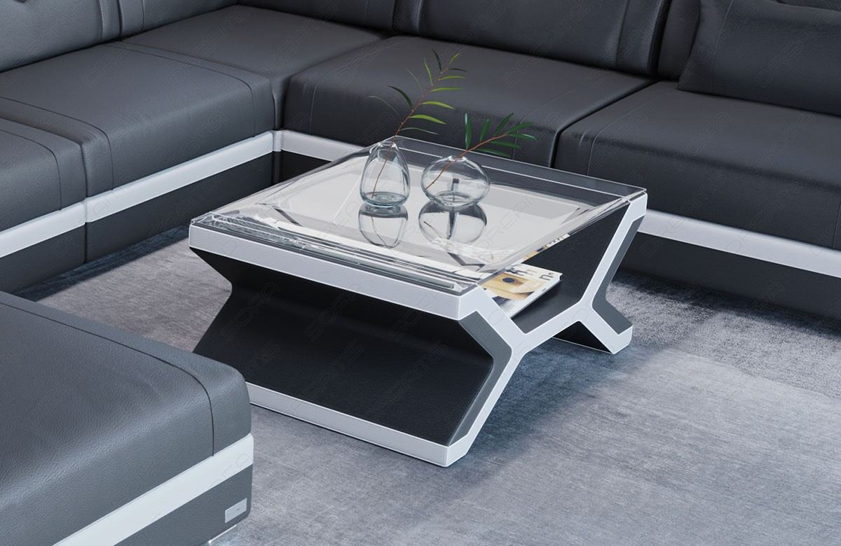 Leather Coffee Table San Francisco With Gl Plate
