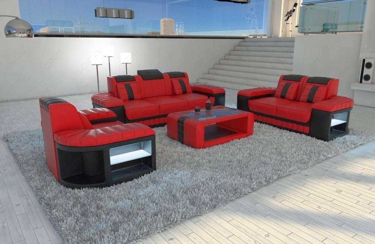 Leather Sofa Set Boston 3 2 1 Led