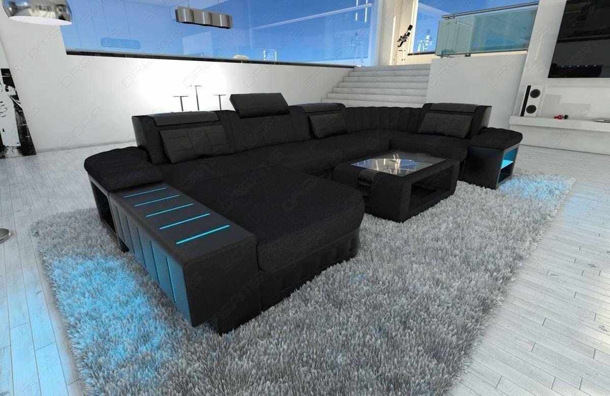 Remarkable Big Fabric Sectional Sofa Boston U With Led Beutiful Home Inspiration Aditmahrainfo