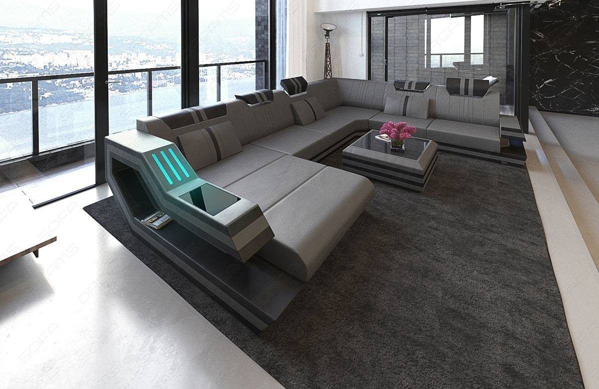 Modern Leather Sofa Hollywood Xl With Led Lights And Usb Connection