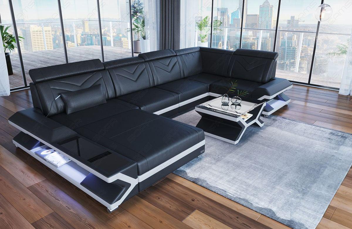 modern sofa San Francisco U shape with lighting in leather