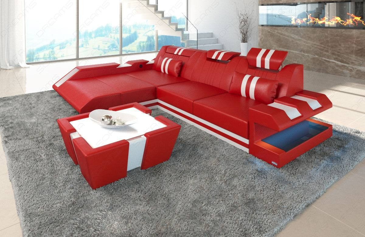 Leather Sofa New Jersey L-Shape with LED